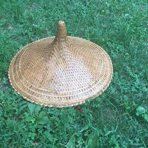 Vintage Asian wicker cone hat boho